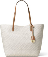 MICHAEL Michael Kors Hayley Large East-West Logo-Print Tote Bag, Vanilla/Acorn