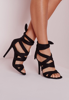 Missguided Lace Up Gladiator Heels Black
