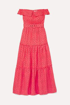 Rebecca Vallance Holliday Off-the-shoulder Polka-dot Linen-blend Dress - Coral