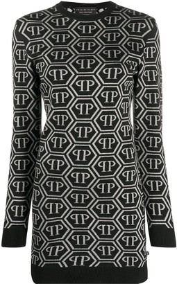 Philipp Plein All Over Logo Sweater Dress