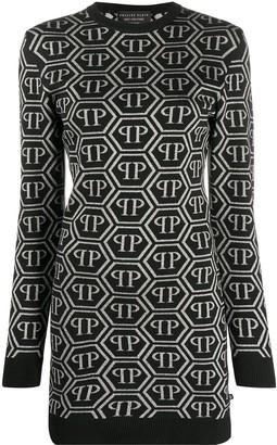 Philipp Plein all over logo sweater dress