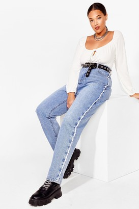 Nasty Gal Womens Fray What You Mean Plus Straight Leg Jeans - Blue - 24