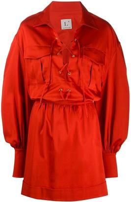 L'Autre Chose Lace-Up Shirt Dress