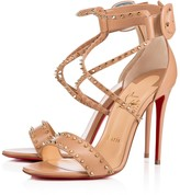 Christian Louboutin Choca Spikes 100 Nude/Light Gold Leather - Women Shoes