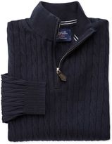 Charles Tyrwhitt Navy Cotton Cashmere Cable Zip Neck Cotton/cashmere Sweater Size Large