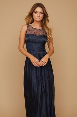 Little Mistress Grace Bridesmaid Navy Embellishment Sweetheart Maxi Dress