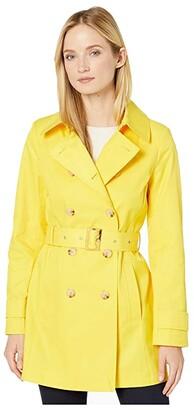 Lauren Ralph Lauren Short Double Breasted Trench (Beach Yellow) Women's Coat