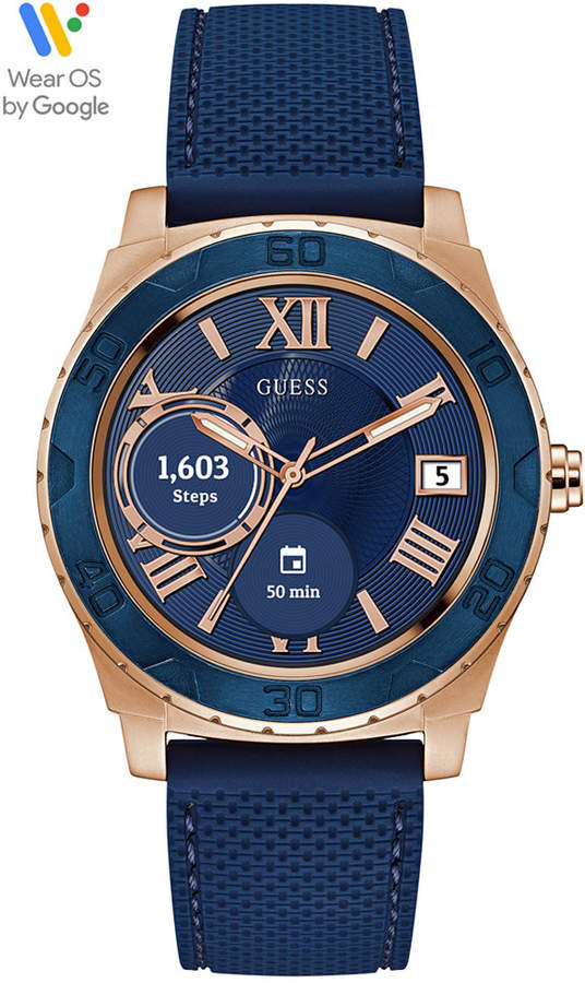 GUESS Connect Men's Blue Silicone Strap Touchscreen Smart Watch 44mm