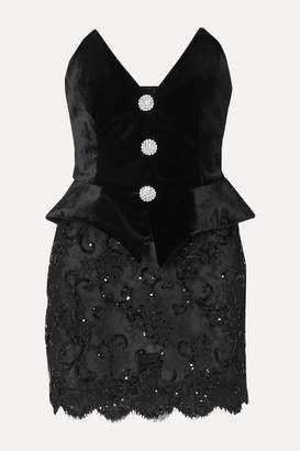 Alessandra Rich Crystal-embellished Velvet And Sequined Lace Mini Dress - Black