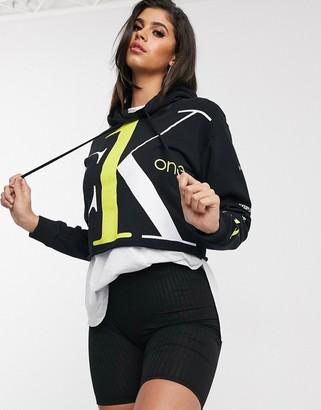 Calvin Klein Jeans CK1 cropped boyfriend logo hoodie in black