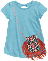 Jessica Simpson Katelyn Twist-Back Fringe Purse-Pocket T-Shirt, Big Girls (7-16)