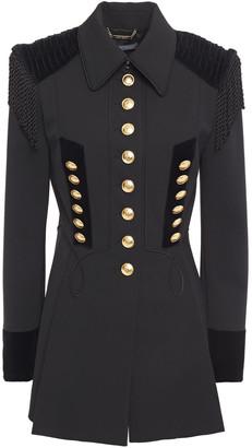 Alberta Ferretti Fringed Velvet-trimmed Embroidered Gabardine Jacket