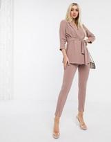 Asos Design DESIGN jersey slim split front suit trousers