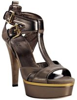 gunmetal leather 'Iman' platform sandals