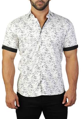 Maceoo Galileo Short Sleeve Geometric Print Tailored Fit Dress Shirt