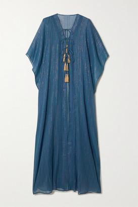 Miguelina Adria Tasseled Cotton And Lurex-blend Gauze Kaftan - Blue