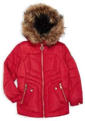 DKNY Little Girl's Faux Fur-Trim Full-Zip Coat