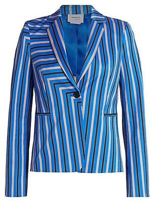 Akris Punto Square Stripe Stretch-Cotton Blazer