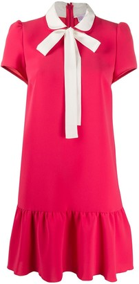 RED Valentino contrast pussybow short dress