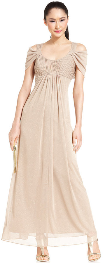 Alex Evenings Cold-Shoulder Ruched Glitter Gown