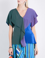 Diane von Furstenberg Ruffled stretch-silk top