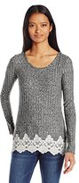 Jolt Women's Long Sleeve Rib Top with Crochet Trim Hem