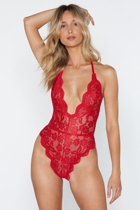 Nasty Gal Womens Lace Stay Together Plunging High-Leg Bodysuit - Black - S