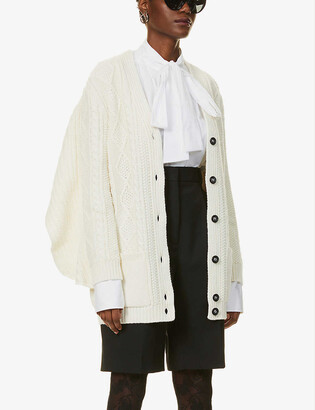 RED Valentino Oversized cable-knit knitted cardigan