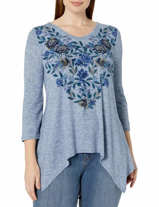 One World ONEWORLD Women's Plus Size 3/4 Sleeve Sharkbite Hem V-Neck Top