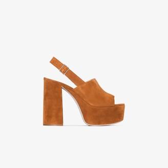 Miu Miu Brown 40 Suede Slingback Sandals
