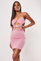 Missguided Pink Underwire Bust Double Belt Mini Dress