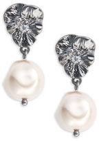Nanette Lepore Gunmetal Faux Pearl Drop Earrings