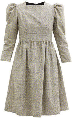 Batsheva Puffed-sleeve Flocked Check Wool Mini Dress - Grey