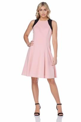 Roman Originals Women Colour Block Sleeveless Midi Skater Dress - Ladies Racer Neckline Wedding Daywear Dresses - Light Pink - Size 18