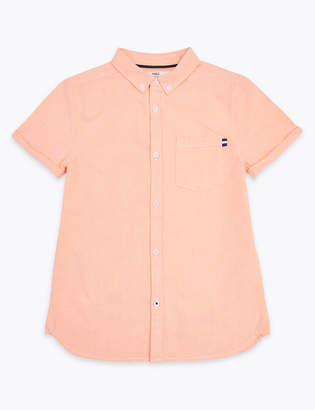 Marks and Spencer Cotton Short Sleeve Oxford Shirt (6-16 Years)