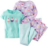 Carter's 4 Piece Graphic Tee PJ Set (Baby) - Cupcake-6 Months