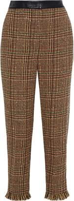 Sonia Rykiel Cropped Leather-trimmed Wool-blend Tweed Straight-leg Pants