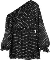 Saint Laurent Polka-dot print one-shoulder georgette dress