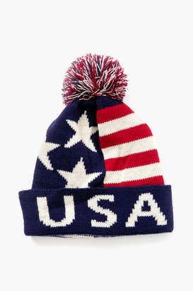 Gents Jc Scarves Red & Blue American Flag Puff Ball Hat