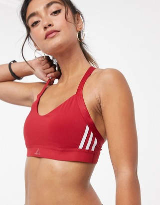 adidas Training 3 stripe bra in red