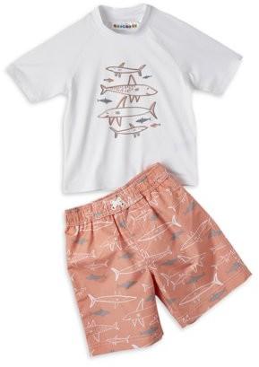 Trunks Wippette Baby Toddler Boy Shark Rashguard & Printed Swim Trunks, 2pc Set