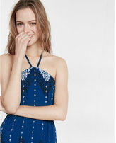 Express blue print halter dress
