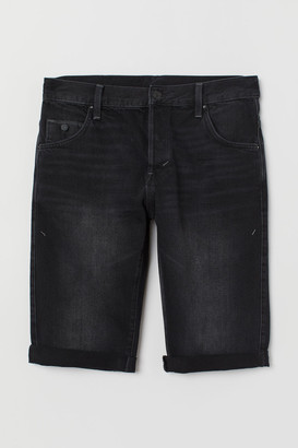 H&M Relaxed Fit Denim Shorts - Black