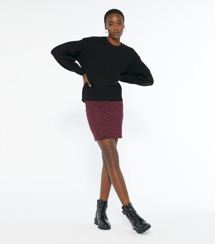 New Look Tall Burgundy Jacquard Leopard Mini Tube Skirt