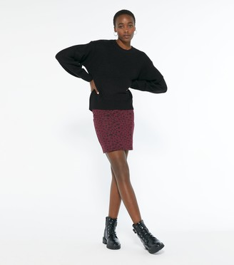 New Look Tall Burgundy Jacquard Leopard Mini Tube Skirt