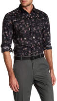 Kenneth Cole New York Camo Print Long Sleeve Tailored Stretch Fit Shirt