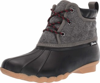 Skechers Womens Mid Quilted Lace-up Rain Boot