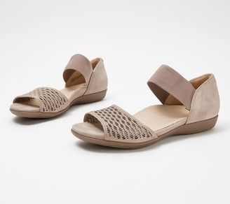 Earth Perforated Leather Sandals - Alder Amora