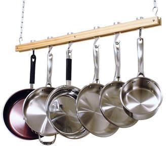 "Cooks Standard Ceiling Mounted Wooden Pot Rack, Single Bar, 36"""