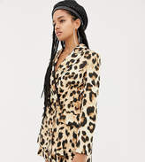 Asos Design DESIGN x LaQuan Smith double breasted blazer in leopard print-Multi